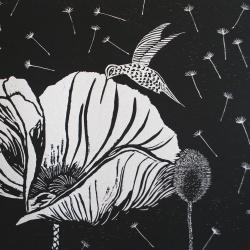 genevieve guadalupe colibri y su amapola woodcut 44x54cm 2016