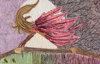 genevieve guadalupe cotton witch artquilt 11,5x17cm