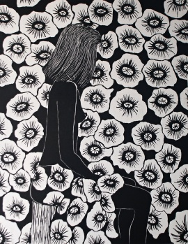 genevieve guadalupe deep in thoughts woodcut 89x69cm 2016