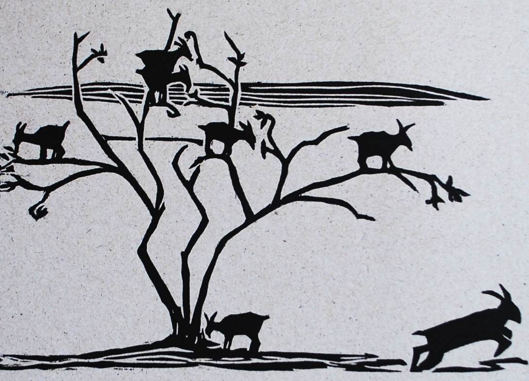 genevieve guadalupe goat tree woodcut 2016 13,5x20cm