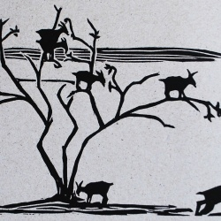 genevieve guadalupe goat tree woodcut 13,5x20cm 2016