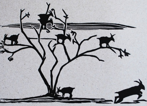 genevieve guadalupe goat tree woodcut 13,5x20cm 2016