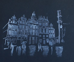 genevieve guadalupe grand place de bruxelles lithography