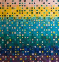 genevieve guadalupe moonlight in the city artquilt 166,5x156,5cm 2015