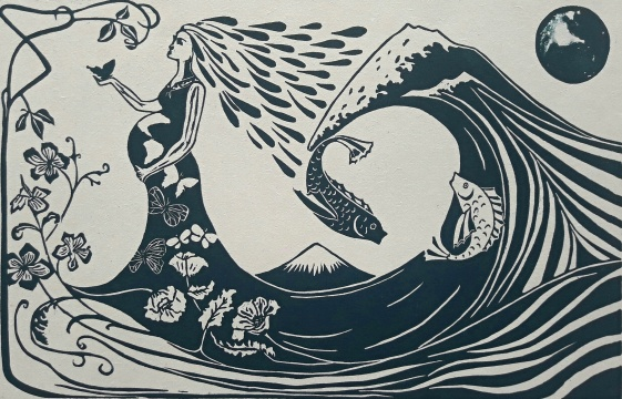genevieve guadalupe pachamama woodcut 35,5x55cm 2014