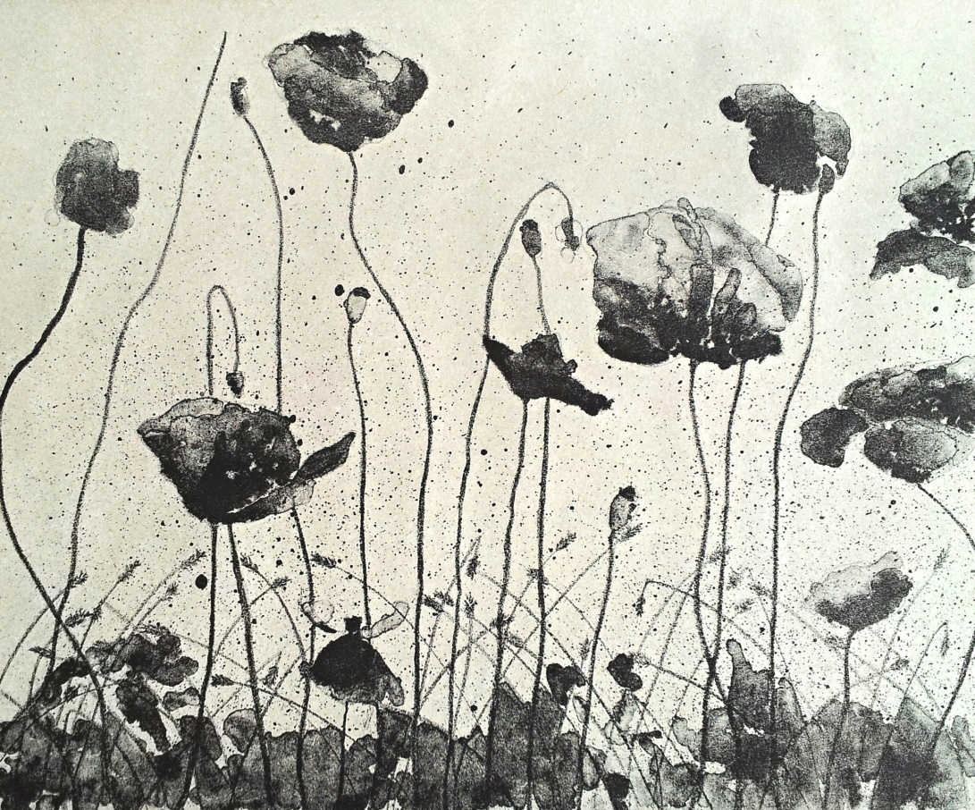 genevieve guadalupe. poppy. lithograph. 2017. 11x14''. 28x35,5cm.