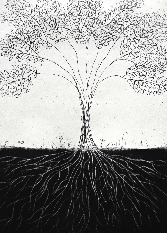 genevieve guadalupe raices etching-mezzotint 13x9,5cm 5x3.75'' 2017