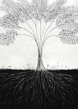 genevieve guadalupe raices etching mezzotint 13x9,5cm 2017
