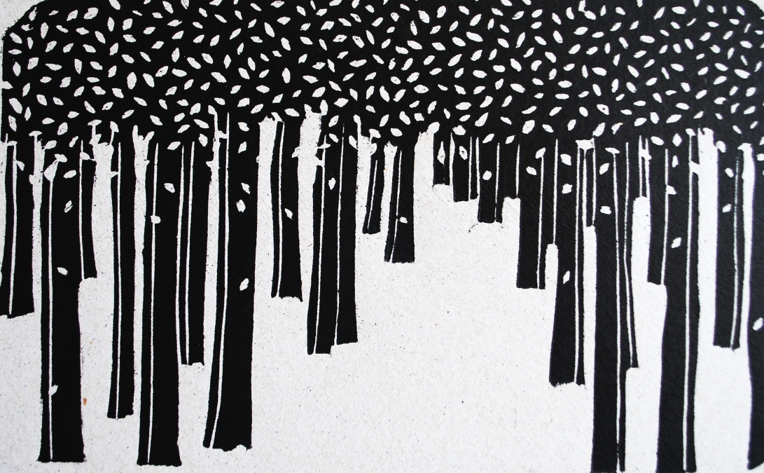 genevieve guadalupe snow leaves woodcut 2016 12x20cm