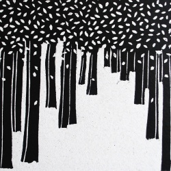genevieve guadalupe snow leaves woodcut 12x20cm 2016