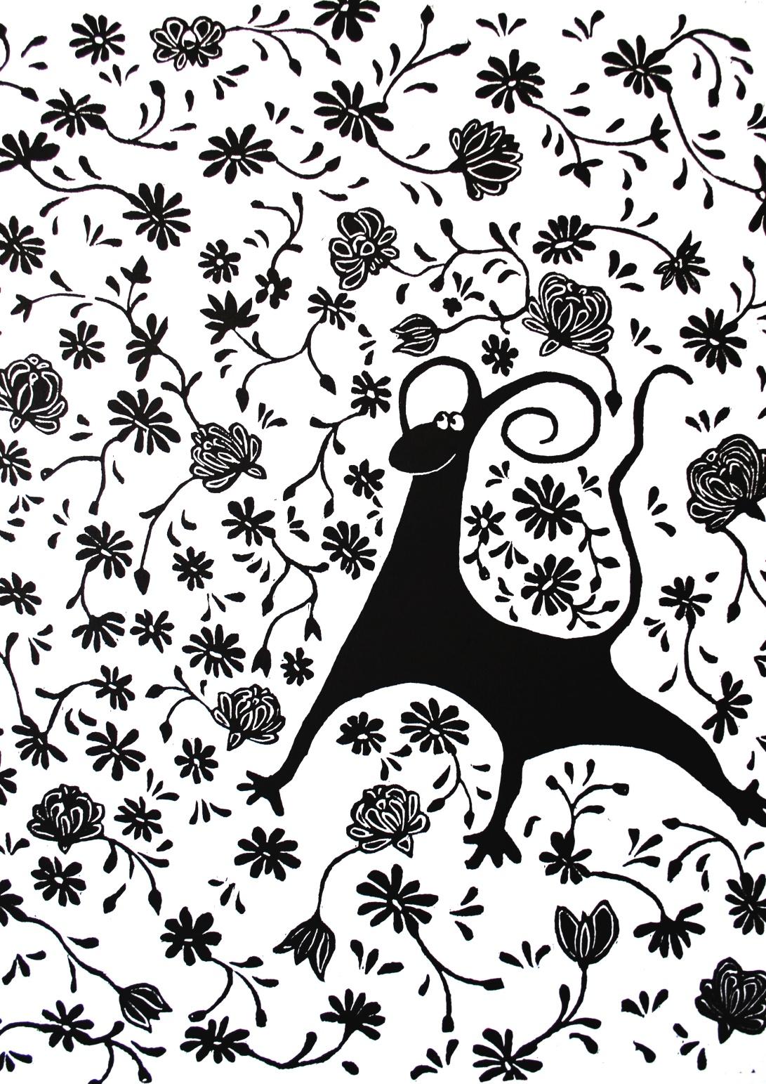 genevieve guadalupe. teodoro. 51x41,5cm. xilography. 2016.