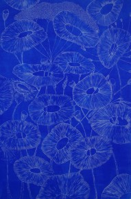 genevieve guadalupe fera flores engraving blue 60x40cm 2019