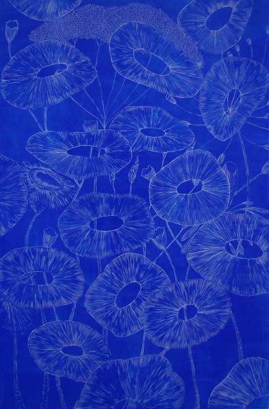 genevieve guadalupe fera flores engraving blue 60x40cm 2019
