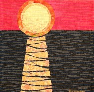 genevieve guadalupe sunset over the ocean artquilt 15x15in 2018