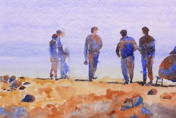 genevieve guadalupe waiting for a ride watercolor 35,5x51cm