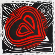 genevieve guadalupe bleeding heart relief woodcut 38x38cm 2020