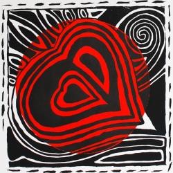 genevieve guadalupe bleeding heart relief woodcut 38x38cm 2020