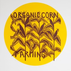 genevieve guadalupe organic corn farming relief woodcut 40x40cm 2020