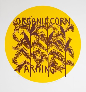genevieve guadalupe organic corn farming relief woodcut 40x40cm 2020