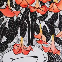 genevieve guadalupe floripondio woodcut 39.5x27.7 100x70cm 2020