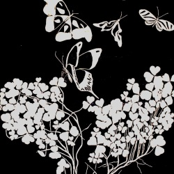 """genevieve guadalupe butterflies are free woodcut 23.5x15.5"""" 60x40cm 2020"""