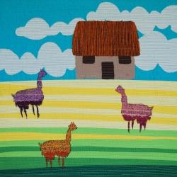 """genevieve guadalupe farmhouse artquilt 15x15"""" 2021"""
