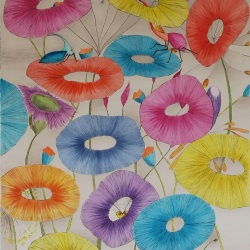 "genevieve guadalupe fera flores colored ingraving 23.5x15.5"" 60x40cm 2020"